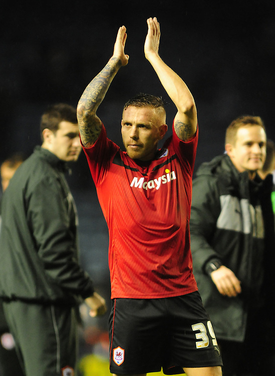 Cardiff City's Craig Bellamy celebrates the win at Leicester City at the end of the game..Football - npower Football League Championship - Leicester City v Cardiff City - Saturday 22nd December 2012 - The King Power Stadium - Leicester..© CameraSport - 43 Linden Ave. Countesthorpe. Leicester. England. LE8 5PG - Tel: +44 (0) 116 277 4147 - admin@camerasport.com - www.camerasport.com
