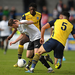 TELFORD COPYRIGHT MIKE SHERIDAN Matt Stenson of Telford (on loan from Solihull Moors) is tackled by Hamza Bencherif during the Vanarama National League Conference North fixture between AFC Telford United and Guiseley on Saturday, October 19, 2019.<br /> <br /> Picture credit: Mike Sheridan/Ultrapress<br /> <br /> MS201920-026