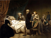 George Washington (1732-1799) lst President of the United States of America (1789-1797). Washington on his deathbed at Mount Vernon, 14 December 1799. After Julius Brutus Stearns (1810-1885) American painter.