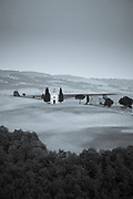 Chapel, Chiesetta di Vitaleta, and typical Tuscan homestead at San Quirico D'Orcia near Pienza  in Val D'Orcia, Tuscany, Italy RESERVED USE <br />