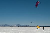 Snow Kiting on Lake Winnipesaukee March 1, 2011.