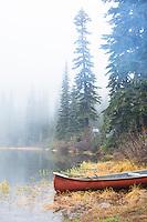 Canoe on lake near Mt Rainier, WA.