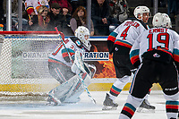 KELOWNA, BC - JANUARY 11: Cole Schwebius #31 of the Kelowna Rockets defends the net against the Kamloops Blazers at Prospera Place on January 11, 2020 in Kelowna, Canada. (Photo by Marissa Baecker/Shoot the Breeze)