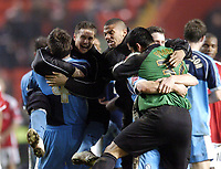 Photo: Olly Greenwood.<br />Charlton Athletic v Wycombe Wanderers. Carling Cup. 19/12/2006. Wycombe players celebrate victory over Charlton 1-0
