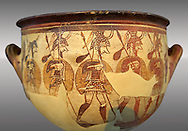 """Large wine krater known as """"House of the Warrior Vase"""", showing men in full armour ( helmet, cuirass, greaves, shield and spear ) as they depart fro war with a sack of supplies hanging from their spears. A fine example of Mycenaean Pictoral Style. Mycenae acropolis, Greece. 12th century BC, cat no: 1426 ,  National Archaeological Museum, Athens. .<br /> <br /> If you prefer to buy from our ALAMY PHOTO LIBRARY  Collection visit : https://www.alamy.com/portfolio/paul-williams-funkystock/mycenaean-art-artefacts.html . Type -   Athens    - into the LOWER SEARCH WITHIN GALLERY box. Refine search by adding background colour, place, museum etc<br /> <br /> Visit our MYCENAEN ART PHOTO COLLECTIONS for more photos to download  as wall art prints https://funkystock.photoshelter.com/gallery-collection/Pictures-Images-of-Ancient-Mycenaean-Art-Artefacts-Archaeology-Sites/C0000xRC5WLQcbhQ"""