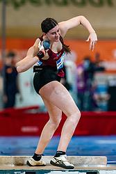 Alida van Daalen in action on the shot put during AA Drink Dutch Athletics Championship Indoor on 20 February 2021 in Apeldoorn.