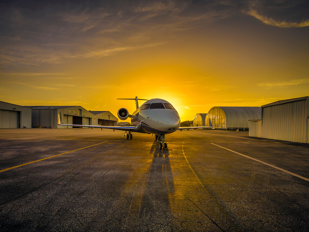 Bombardier 605 on the ramp at sunrise.  Commissioned as advertising for Phillips 66 Aviation Fuels.  <br />