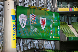 DUBLIN, REPUBLIC OF IRELAND - Sunday, October 11, 2020: The scoreboard records the goal-less draw during the UEFA Nations League Group Stage League B Group 4 match between Republic of Ireland and Wales at the Aviva Stadium. The game ended in a 0-0 draw. (Pic by David Rawcliffe/Propaganda)