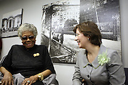 29 October 2010- Harlem, New York- l to r: Dr. Maya Angelou and Ann Thornton, Director for Reference and Research Services, NYPL  backstage at The Acquisition of the Maya Angelou Collection of Personal Papers and Materials Documenting 40 years of the Writer's Literary Career held at the Schomburg Center on October 29, 2010 in Harlem, USA. Photo Credit: Terrence Jennings