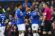 Enner Valencia of Everton (r) celebrates with his teammates after scoring his teams 2nd goal. Premier league match, Everton v Hull city at Goodison Park in Liverpool, Merseyside on Saturday 18th March 2017.<br /> pic by Chris Stading, Andrew Orchard sports photography.