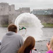 08.06.2016        <br /> Scenes along Clancy Strand as Scotty Knemeyer put on a spectacular flyboard show over the River Shannon in support of Limerick 2020. Picture: Alan Place