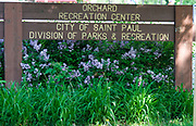 Sign for for Orchard Recreation Center. St Paul Minnesota MN USA