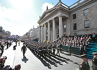 Members of the  Irish Defence Forces pictured during the 1916 Easter Rising Commemoration Parade on Dublin's O Connell St. Picture Credit: Frank Mc Grath<br />27/3/16