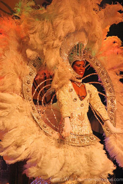 South America, Brazil, Rio. Colorful costumed female dancer of the Plataforma Show in Rio.