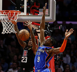 March 8, 2019 - Los Angeles, California, U.S - Los Angeles Clippers' Lou Williams (23) goes to basket while defended by Oklahoma City Thunder's Jerami Grant (9) during an NBA basketball game between Los Angeles Clippers and Oklahoma City Thunder Friday, March 8, 2019, in Los Angeles. (Credit Image: © Ringo Chiu/ZUMA Wire)