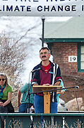 Bar Harbor, USA. 29 April, 2017. Walter Kumiega, Chair of the Marine Resources Committee, Maine House of Representatives, District 36, addresses the crowd at the Downeast Climate March.