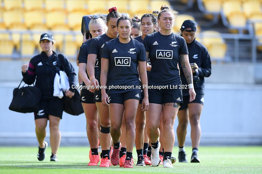 Players finish warming up before the Black Ferns Sevens match, Sky Stadium, Wellington, Sunday, April 11, 2021. Copyright photo: Kerry Marshall / www.photosport.nz