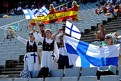 28.07.2010, Olympic Stadium, Barcelona, ESP, European Athletics Championships Barcelona 2010, im Bild Fans of Finland supports their athletes EXPA Pictures © 2010, PhotoCredit: EXPA/ nph/ . Ronald Hoogendoorn+++++ ATTENTION - OUT OF GER +++++