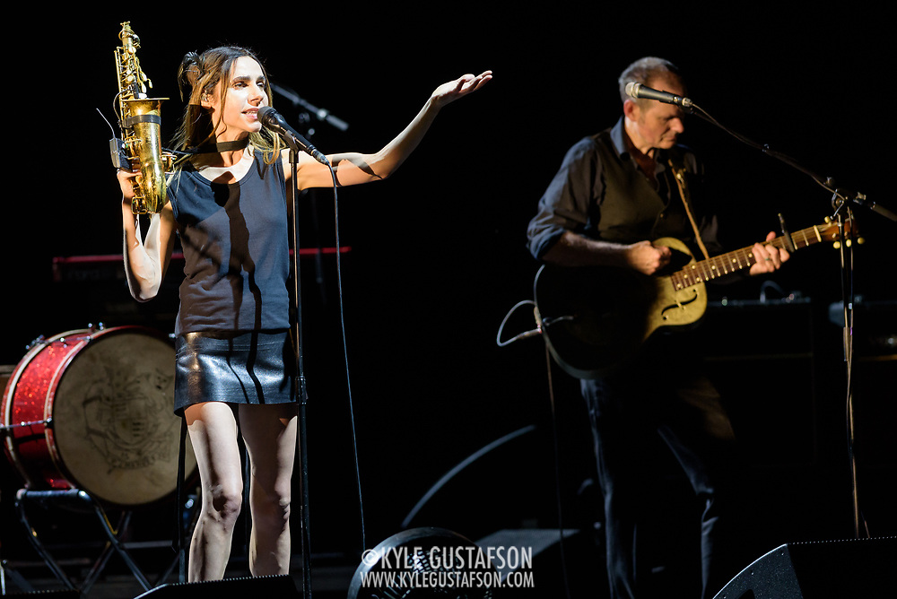 VIENNA, VA - July 21st, 2017 - PJ Harvey (left) performs at the Filene Center at Wolf Trap in Vienna, VA. A trip to Washington, D.C. in 2016 inspired much of Harvey's latest album, The Hope Six Demolition Project. (Photo by Kyle Gustafson / For The Washington Post)
