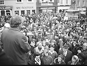 Image of Fianna Fáil leader Charles Haughey touring West Cork during his 1982 election campaign...04/02/1982.02/04/82.4th February 1982..A face in the crowd:..Charles Haughey looks over the crowd he addresses. .
