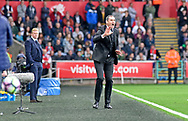 Swansea City Head Coach Paul Clement shouts instructions from the touchline late in the second half.<br /> Premier league match, Swansea city v Everton at the Liberty Stadium in Swansea, South Wales on Saturday 6th May 2017.<br /> pic by  Phil Rees, Andrew Orchard sports photography.