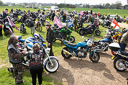 © Licensed to London News Pictures. 12/04/2019.<br /> Blackheath, UK. Bikers meeting point on Blackheath Common, London, on route to Westminster to protest against the Prosecution of British soldier F charged for the Bloody Sunday murders.  <br /> Photo credit: Grant Falvey/LNP
