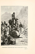 Passepartout, following his usual custom, takes a stroll from the book ' Around the world in eighty days ' by Jules Verne (1828-1905) Translated by Geo. M. Towle, Published in Boston by James. R. Osgood & Co. 1873 First US Edition