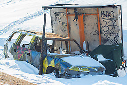 December 3, 2016 - A burned car close to the Oceti Sakowin Camp at Standing Rock, ND (Credit Image: © Dimitrios Manis via ZUMA Wire)