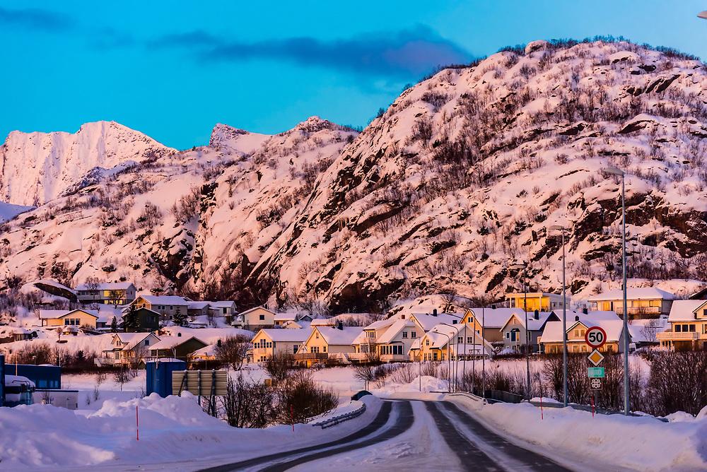 Highway E10 in Svolvaer, on Austvagoya Island, Lofoten Islands, Arctic, Northern Norway. It is the main road through the Lofoten Islands.