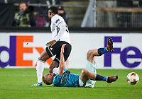 TRONDHEIM, NORWAY - NOVEMBER 02, 2017. UEFA Europa League, round 4: Rosenborg BK (Norway) 1-1 Zenit St Petersburg (Russia). Rosenborg's Samuel Adegbenro (L) and Zenit St Petersburg's Igor Smolnikov (R).