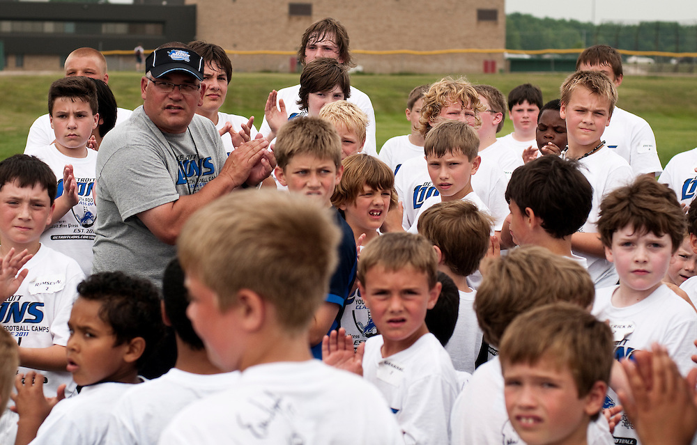 Matt Dixon   The Flint Journal..Campers gather to thank former Detroit Lion Erik Hipple at the conclusiong of the 2011 Detroit Lions Football Camp at Grand Blanc High School tuesday morning.