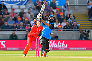 Moeen Ali of Worcestershire plays an attacking shot and is caught by James Faulkner of Lancashire off the bowling of Zahir Khan of Lancashire during the Vitality T20 Finals Day Semi Final 2018 match between Worcestershire Rapids and Lancashire Lightning at Edgbaston, Birmingham, United Kingdom on 15 September 2018.