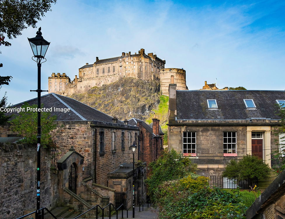 View of Edinburgh Castle from The Vennel historic steps in Scotland , United Kingdom.