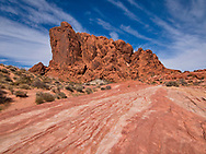 Nevada's Valley of Fire state park offers a wealth of red rock formations, I loved this butte standing over a sandstone striation.