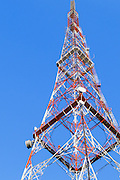 Lattice television broadcast tower and tv antennas at Mt Coot-tha, Brisbane, Queensland, Australia <br /> <br /> Editions:- Open Edition Print / Stock Image