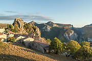 High angle view of village of Rougon overlooking the Gorges du Verdon, France