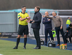Ref Greg Aitken has words with Dundee United's manager Robbie Neilson. Falkirk 1 v 1 Dundee United, Scottish Championship game played 23/2/2019 at The Falkirk Stadium.