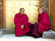Portrait of two Buddhist monks at Punakha Dzong (fortress), Western Bhutan. Traditionally, Bhutanese families would, if they were able, send one son to join a monastery. This was viewed as creating merit for the family and household and a blessing for the child. Often from poor families, once in the monastery, their daily lives revolve around learning to read and write. Punakha Dzong was the second dzong to be built in Bhutan and it served as the capital and seat of the government until 1955 when Thimphu became the captial of Bhutan.