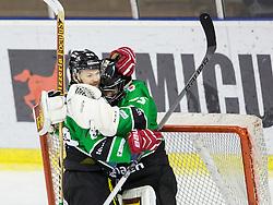 25.01.2015, Hala Tivoli, Ljubljana, SLO, EBEL, HDD Telemach Olimpija Ljubljana vs EHC Liwest Linz, 43. Runde, in picture Andrej Hebar (HDD Telemach Olimpija, #84) and Tomaz Trelc (HDD Telemach Olimpija, #95 celebrate after the Erste Bank Icehockey League 43. Round between HDD Telemach Olimpija Ljubljana and EHC Liwest Linz at the Hala Tivoli, Ljubljana, Slovenia on 2015/01/25. Photo by Vid Ponikvar / Sportida