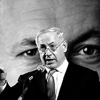 Benjamin Netanyahu speaks during an election campaign to the Russian sector in Tel Aviv on February 2009.