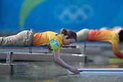 "Rio de Janeiro. BRAZIL.   Boat Holder, 2016 Olympic Rowing Regatta. Lagoa Stadium,<br /> Copacabana,  ""Olympic Summer Games""<br /> Rodrigo de Freitas Lagoon, Lagoa.   Tuesday  09/08/2016 <br /> <br /> [Mandatory Credit; Peter SPURRIER/Intersport Images]"