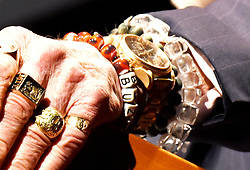 Gemini XII & Apollo XI astronaut Buzz Aldrin wears rings and bracelets as he speaks during the Humans 2 Mars Summit at the George Washington University in Washington, DC, on May 9, 2017.