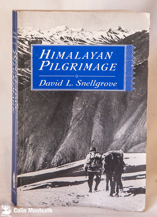 HIMALAYAN PILGRIMAGE, David Snellgrove, Shambhala, Boston, 1989, 300 page softbound, VG, Maps B&W plates, Himalayan Pilgrimage tells of a seven-months' journey which the author made through the remote Tibetan-speaking regions of north-western Nepal (Dolpo & Mustang) in 1956. Traveling everywhere on foot with his Nepalese companion, Pasang Khambache Sherpa, to whom this book is dedicated, he covered more than a thousand miles of mountainous country and crossed some fifteen major passes. $50 - (Arnold Heine Collection)