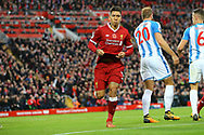 Roberto Firmino of Liverpool celebrates after scoring his teams 2nd goal. Premier League match, Liverpool v Huddersfield Town at the Anfield stadium in Liverpool, Merseyside on Saturday 28th October 2017.<br /> pic by Chris Stading, Andrew Orchard sports photography.
