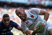 Twickenham, United Kingdom 25th May 2019 HSBC London Sevens, Tom BOWEN,  Dropping down for a try during the England vs Scotland match, played at  the  RFU Stadium, Twickenham, England, <br /> © Peter SPURRIER: Intersport Images<br /> <br /> 15:27:03 25.05.19