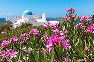 Piso Livadi, Paros, Greece - July 2021: Agios Nocolaos chuch
