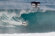 Dusty Payne of Hawaii will surf in Round Two of the 2017 Billabong Pipe Masters after placing second in Heat 6 of Round One at Pipe, Oahu, Hawaii, USA.
