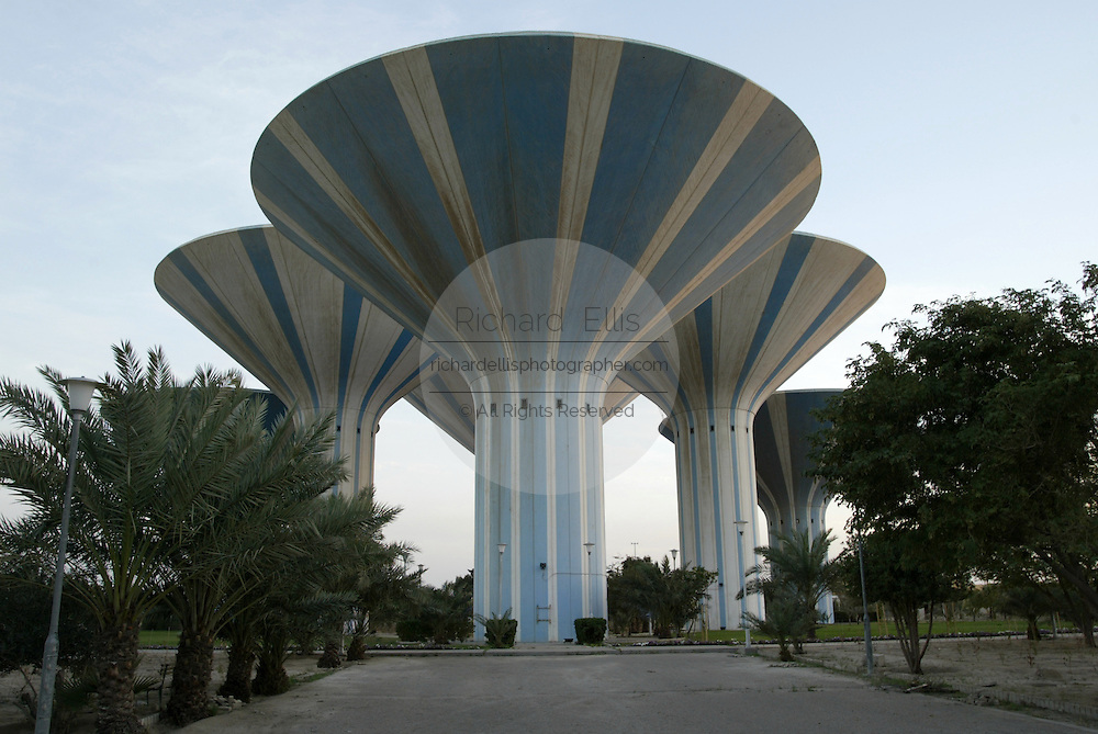 The Swedish designed water towers of Kuwait City, known as the mushroom towers in blue and white in Kuwait City.