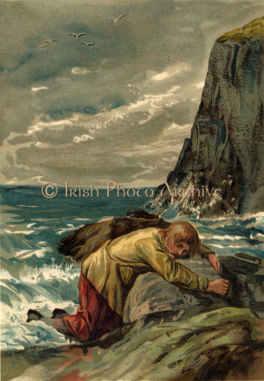 Robinson Crusoe, after the shipwreck, washed onto the rocks by the waves.  Chromolithograph  from 'The Life and Strange Surprising Adventures of Robinson Crusoe' by Daniel Defoe (London, 1891). The book was first published in 1719.  Illustration by John Dawson Watson (1832-1892).