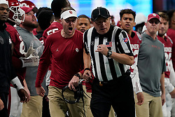 Head coach Lincoln Riley of the Oklahoma Sooners reacts to a play during the first half against the LSU Tigers in the 2019 College Football Playoff Semifinal at the Chick-fil-A Peach Bowl on Saturday, Dec. 28, in Atlanta. (Paul Abell via Abell Images for the Chick-fil-A Peach Bowl)